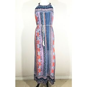 Colorful Patterned Halter Maxi Dress